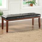 TRIBECCA HOME Hawthorne Rich Dark Brown Faux Leather Bench