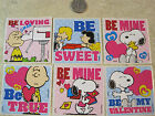 6 LARGE  SNOOPY STICKERS PEANUTS VALENTINES HEARTS LOVE  SCRAPBOOK  SO CUTE