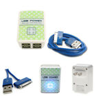 100X 4 USB PORT WALL ADAPTER+6FT CABLE POWER CHARGER DATA BLUE GALAXY TAB NOTE