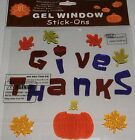 Thanksgiving Window Gels GIVE THANKS with Fall Leaves and Pumpkin