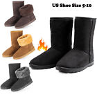 Winter Boots Womens Faux Fur Suede Mid Calf Warm Snow Fashion Plush 4 Colors
