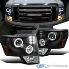 2009-2014 Ford F150 F-150 XLT STX Black LED Halo Projector Headlights Lamps Pair