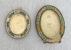 ITALY ANTIQUE ITALIAN 2 MICRO MOSAIC PICTURE PHOTO OVAL FRAMES NEED REPAIR