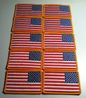 20 USA Flag LEFT Iron On Patch Embroidered AMERICAN ARMY Military Gold Border
