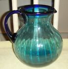 Superb Blue Glass Ribbed Pitcher-Blown Glass-Applied Handle-Cobalt Blue Handle