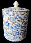 Antique 19th c EJD Bodley Burslem Blue White Gold Biscuit Jar England 1875-92