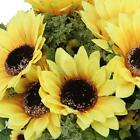 Artificial Yellow Sunflower Bouquet Plant 18 Flower heads Home Decoration Gift