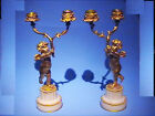 ANTIQUE PAIR GILD BRONZE CUPID CHERUB PUTTI CANDELABRA 2 LIGHTS CANDLE HOLDER