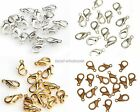 100Pcs Silver Gold Copper Plated Lobster Clasps Hooks 10 12mm