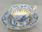 Antique English 18 C Porcelain Teacup & Saucer Blue Willow Transferware