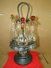 Victorian Silver Plate Vinegar-Oil Cruet Castor Set,5 Bottles,Rogers,Cut Glass