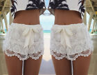 New Sexy Women Lady Elastic Shorts High Waist Lace Short Pants White Trousers