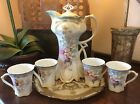 VINTAGE 6-PIECE PORCELAIN CHOCOLATE POT/LID AND 4 CUPS SET CIRCA 1980's