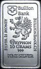 10 Grams 999 Fine Silver Griffin Bullion Bank Bar 10 gr Gryphon 99.9% Pure Bars