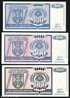 Bosnia - BANJA LUKA *SET 3 Notes* 1992 - P 135 136 137 - 100 500 1000 Dinara UNC