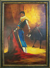 Original Mid Century Bull Fighter Spanish Matador Painting Oil on Canvas Signed