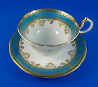 Aynsley Aqua Blue with Gold Border Tea Cup and Saucer Set