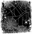 Deep Red Rubber Cling Stamp Spider web Background Halloween Spooky Scary