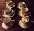 Antique Z.S. & Co Bavaria & Benedikt Czech iridescent TEA CUP SET CREAMER SUGAR