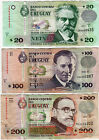 URUGUAY THREE REPLACEMENT CIRCULATED NOTES: $ 20, $ 100 & $ 200 ****************