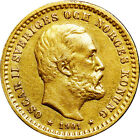 SWEDEN Oscar II Gold 5 Kronor 1901-EB NGC AU DETAILS Ex.Eric Newman Collection.