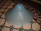 Vintage Art Deco Style Blue Ribbed Glass Ceiling Lamp Shade-11 & 1/4