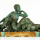 HUGE 1920s French ART DECO Nude LADY And Panthers SCULPTURE by ARMAND GODARD