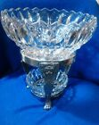 Gorgeous Ornate  LION'S HEAD VINTAGE Silverplate Chafing stand  Lead Crystal