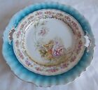AQUA BLUE PASTEL FLORAL CHINA PLATE ~ UNMARKED ~ ART NOUVEAU? ART DECO? ~ VTG