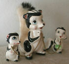 VINTAGE SKUNK FAMILY FIGURINES MAMA WITH FUR & 2 BABIES ON CHAIN JAPAN