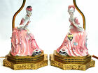 Pair of Goldscheider Porcelain Girl Figural Vanity/Boudoir Lamps Figurines