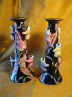 Vtg Pair Chinese Incised Porcelain Candle Holders w Climbing Boy Figurines