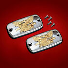 Chrome Master Cylinder Covers w/ Gold Eagles-2014+ Honda Valkyrie F6C 57-1097CG