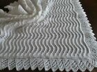 BEAUTIFUL HAND KNITTED BABY BLANKET / CHRISTENING SHAWL NEW! 34'X34'