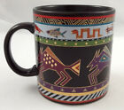 Laurel Burch Bison Mug Large 16 oz Black Colorful Animals Gold Signed Japan 1990