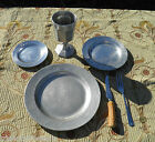 RWP Pewter Plates - Wine Goblet - 3-Prong Fork Antler Knife - Feast Gear #12 SCA