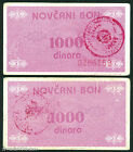 BOSNIA- P 50b - 1000 Dinara - NOVCANI BON/MONETARY COUPON - Stamped NOVI TRAVNIK