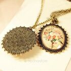 Vintage Retro Copper Oval Flowers Cameo Hollow Charm Locket Necklace Pendant
