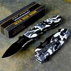 TAC-FORCE Speedster Rescue Black Camo Spring Assisted Open Foldin