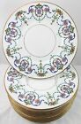 FULL SET 12 VINTAGE MINTON CHINA H3194 DINNER PLATES ENAMELED FLORAL CREAM GOLD