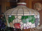 Antique Stained Glass Lamp Shade c, 1920, Art Nouveau, w/ Beveled Glass Fruit