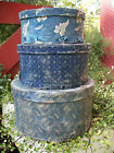 set of 3 large round calico covered boxes, blues, primitve, early
