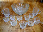 Vintage Glass Punch Bowl Set Bubble Design 2 Bonus Big Mugs 10 cup Dipper Ladle