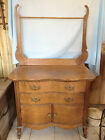 Vintage Tiger Oak WashStand w/ Towel Bar & Victorian Brass Handles -Bath-Commode