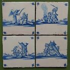 4 DUTCH DELFT TILES 17th/18th century BIBLICAL (Period c.1675-1750)