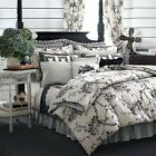 NEW CHAPS by Ralph Lauren Radcliffe 3 Piece King Duvet Set Black & Cream $290