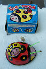 Vintage Wind Up Mechanical Joyful A Lady-Bug Tin Childrens Toy Japan Box Suzuki