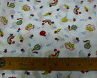 Vtg Cotton Novelty Fabric Bird Hot Air Balloon Moon Star Rainbow 62