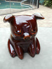 Vintage Hull Pottery Sitting Pig Brown Glaze Piggy Bank with Blue