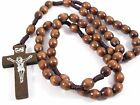 Wood Catholic rosary beads brown with wooden Jesus cross crucifix hand made